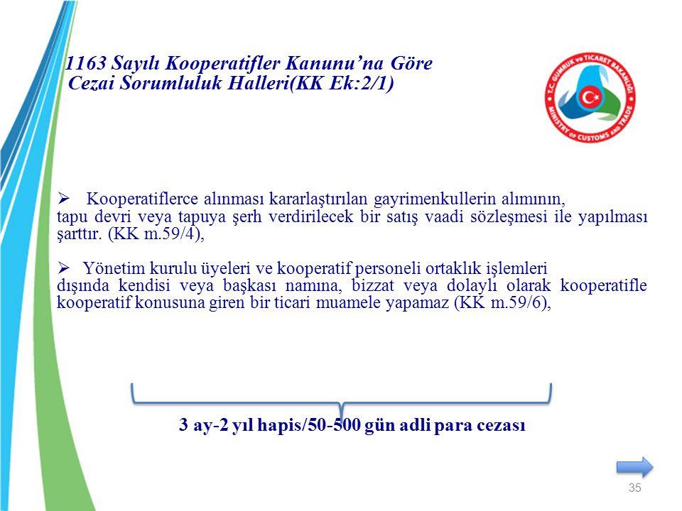 1163 Sayılı Kooperatifler Kanunu'na Göre Cezai Sorumluluk Halleri(KK Ek:2/1)  Kooperatiflerce alınması kararlaştırılan gayrimenkullerin alımının, tap