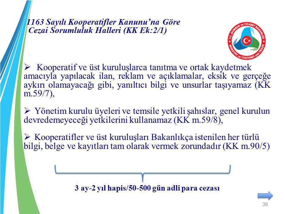 1163 Sayılı Kooperatifler Kanunu'na Göre Cezai Sorumluluk Halleri (KK Ek:2/1)  Kooperatif ve üst kuruluşlarca tanıtma ve ortak kaydetmek amacıyla yap