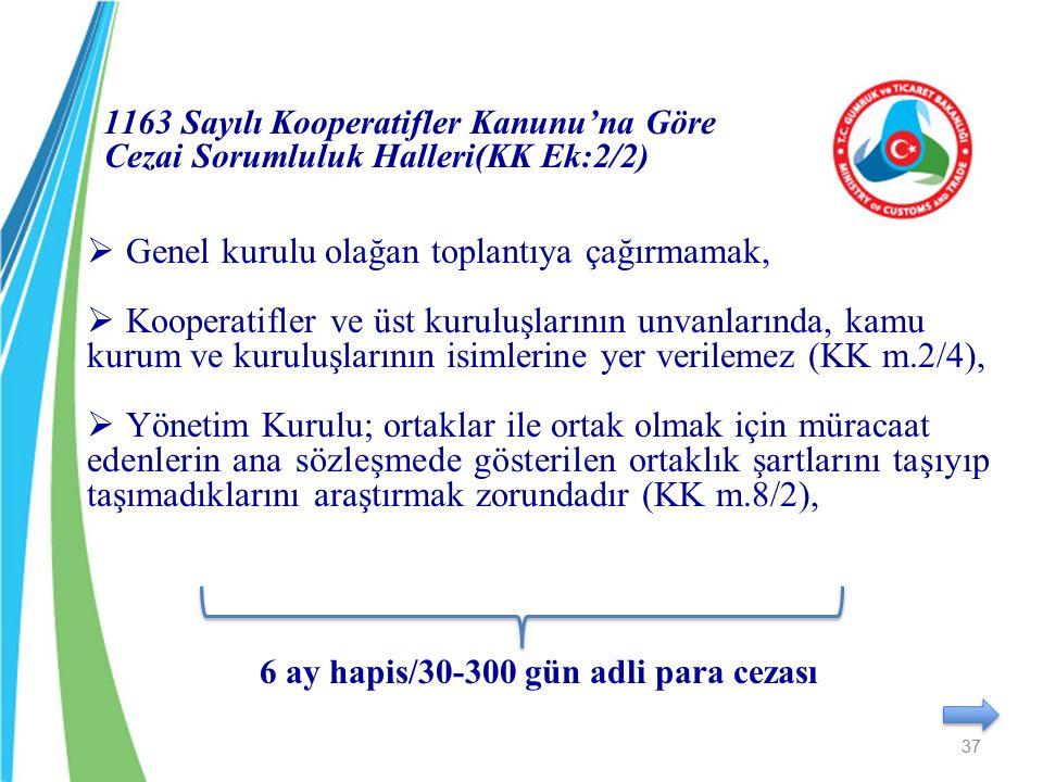 1163 Sayılı Kooperatifler Kanunu'na Göre Cezai Sorumluluk Halleri(KK Ek:2/2)  Genel kurulu olağan toplantıya çağırmamak,  Kooperatifler ve üst kurul