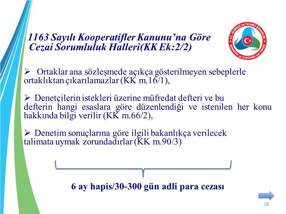 1163 Sayılı Kooperatifler Kanunu'na Göre Cezai Sorumluluk Halleri(KK Ek:2/2)  Ortaklar ana sözleşmede açıkça gösterilmeyen sebeplerle ortaklıktan çık