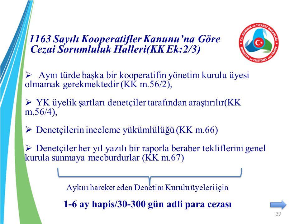 1163 Sayılı Kooperatifler Kanunu'na Göre Cezai Sorumluluk Halleri(KK Ek:2/3)  Aynı türde başka bir kooperatifin yönetim kurulu üyesi olmamak gerekmek