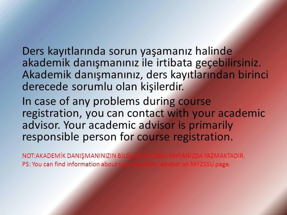 Ders kayıtlarında sorun yaşamanız halinde akademik danışmanınız ile irtibata geçebilirsiniz.