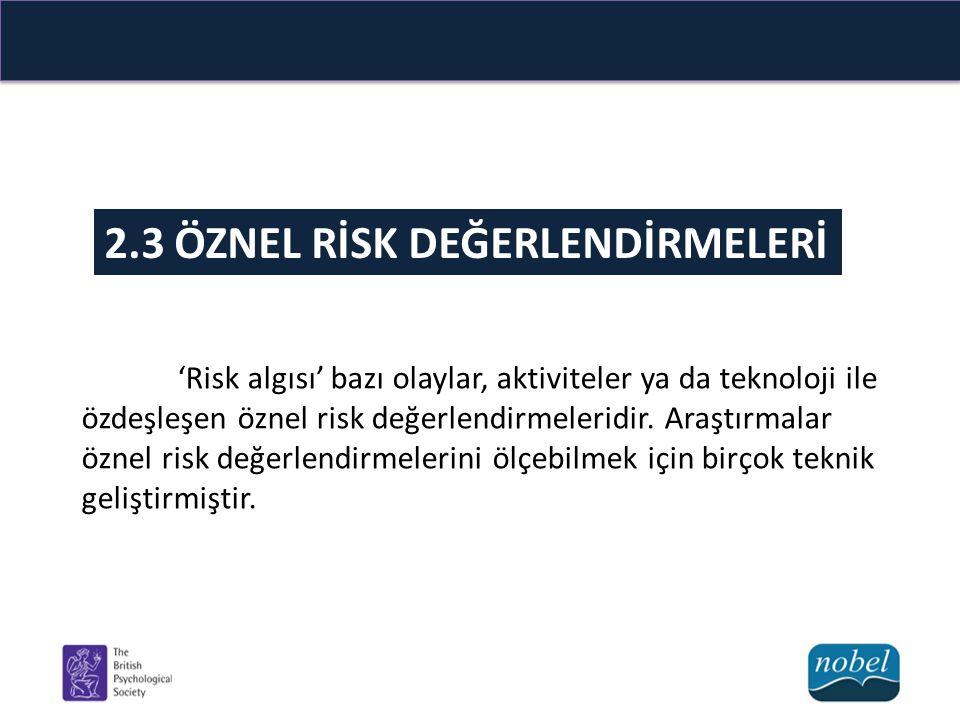 Özel risk değerlendirmede kullanılan yöntemleri inceleyelim; Risk değerlendirmelerinde höristik ve yanlılıklar Çevresel risklerin zamansal indirimi Psikometrik paradigma
