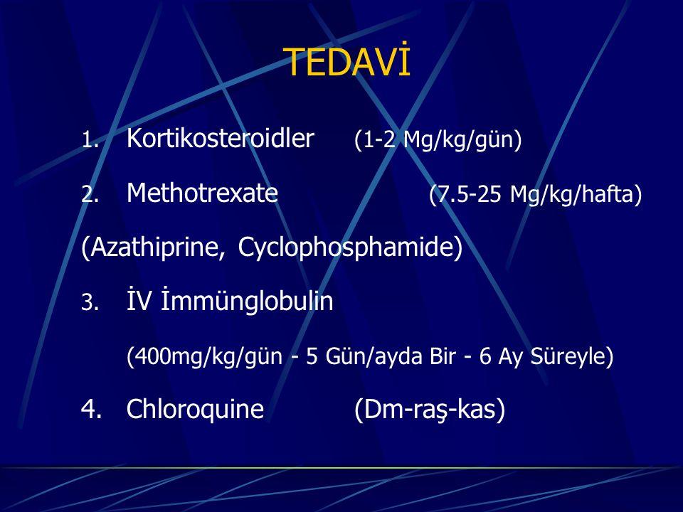 TEDAVİ 1. Kortikosteroidler (1-2 Mg/kg/gün) 2. Methotrexate (7.5-25 Mg/kg/hafta) (Azathiprine, Cyclophosphamide) 3. İV İmmünglobulin (400mg/kg/gün - 5