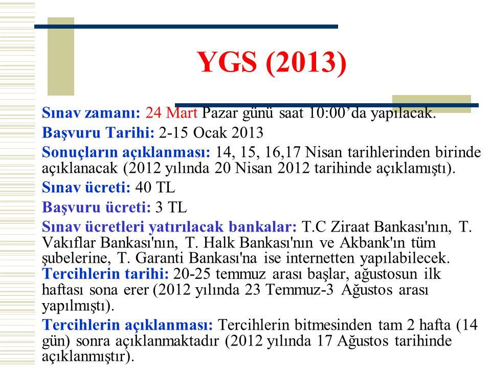 YGS (2013) Sınav zamanı: 24 Mart Pazar günü saat 10:00'da yapılacak. Başvuru Tarihi: 2-15 Ocak 2013 Sonuçların açıklanması: 14, 15, 16,17 Nisan tarihl