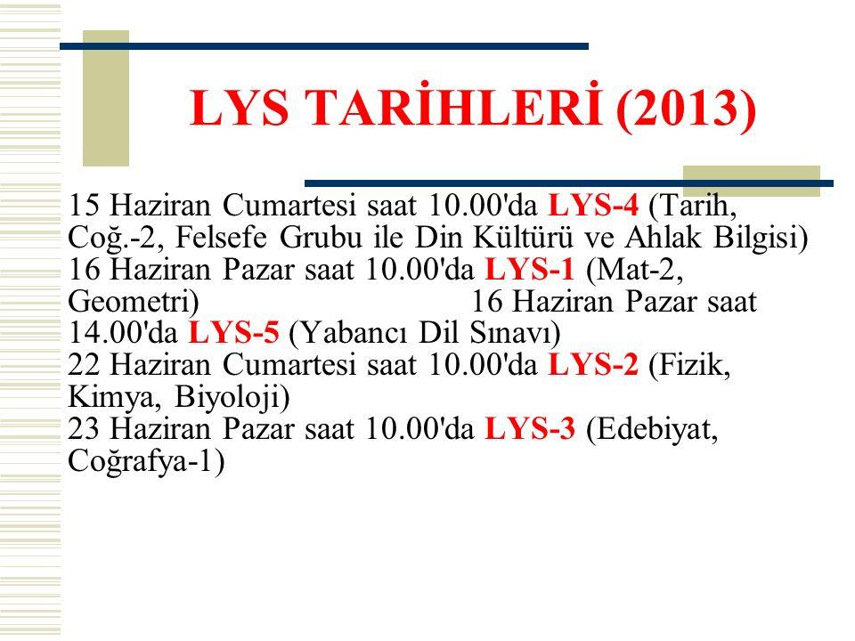 LYS TARİHLERİ (2013) 15 Haziran Cumartesi saat 10.00'da LYS-4 (Tarih, Coğ.-2, Felsefe Grubu ile Din Kültürü ve Ahlak Bilgisi) 16 Haziran Pazar saat 10