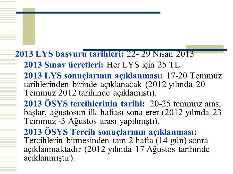 2013 LYS başvuru tarihleri: 22- 29 Nisan 2013 2013 Sınav ücretleri: Her LYS için 25 TL 2013 LYS sonuçlarının açıklanması: 17-20 Temmuz tarihlerinden b
