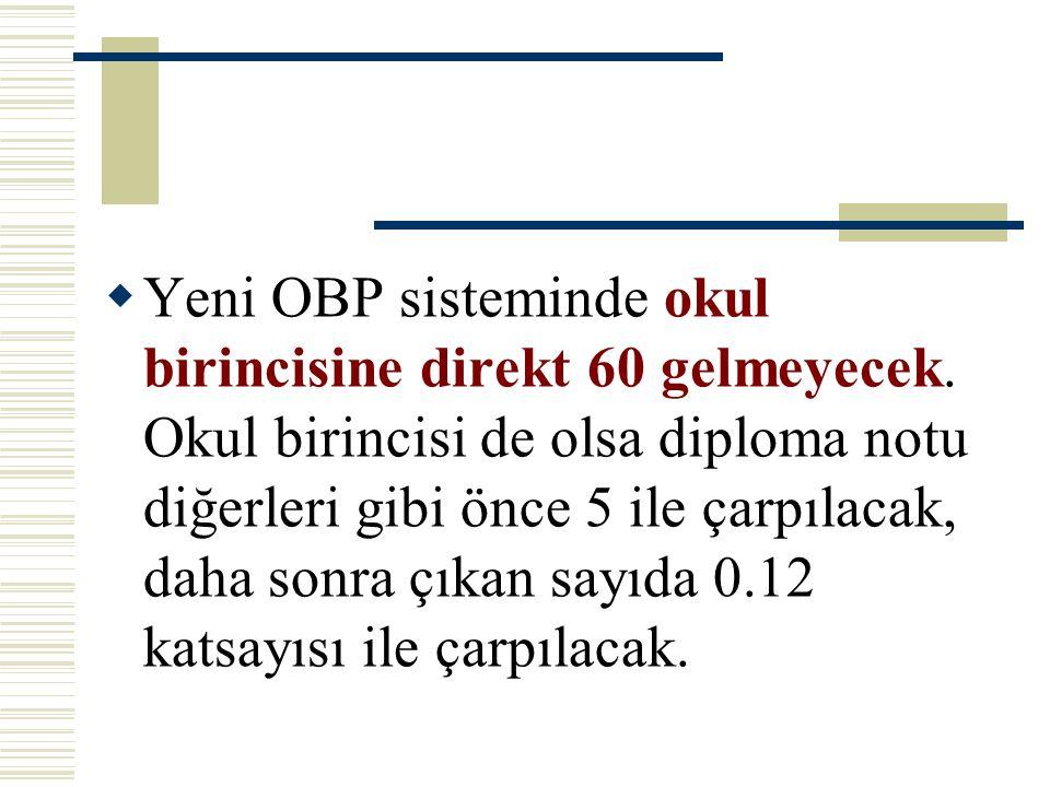  Yeni OBP sisteminde okul birincisine direkt 60 gelmeyecek. Okul birincisi de olsa diploma notu diğerleri gibi önce 5 ile çarpılacak, daha sonra çıka