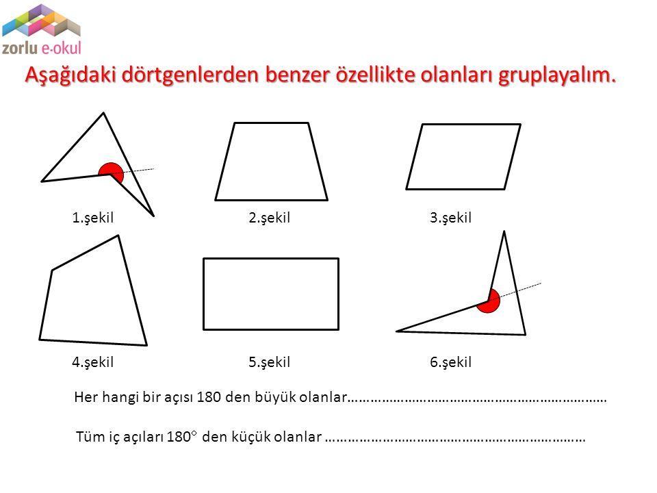 Aşağıdaki dörtgenlerden benzer özellikte olanları gruplayalım. 1.şekil2.şekil3.şekil 4.şekil5.şekil6.şekil Tüm iç açıları 180  den küçük olanlar …………