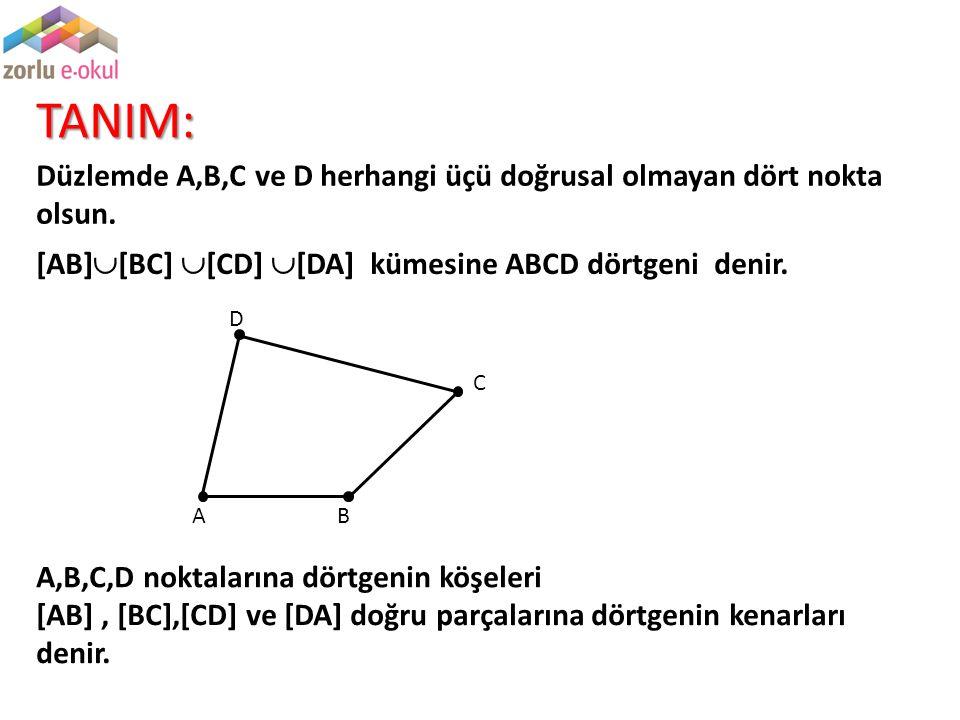 TANIM: Düzlemde A,B,C ve D herhangi üçü doğrusal olmayan dört nokta olsun. A,B,C,D noktalarına dörtgenin köşeleri [AB]  [BC]  [CD]  [DA] kümesine A