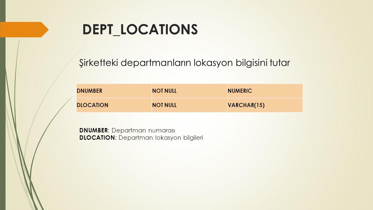 EMPLOYEE FNAMENOT NULLVARCHAR(15) MINIT VARCHAR(1) LNAMENOT NULLVARCHAR(15) SSNNOT NULLCHAR(9) BDATE DATE ADDRESS VARCHAR(50) SEX CHAR(1) SALARY NUMERIC SUPERSSN CHAR(9) DNO NUMERIC Şirkette çalışan işçilerin bilgilerini tutar.