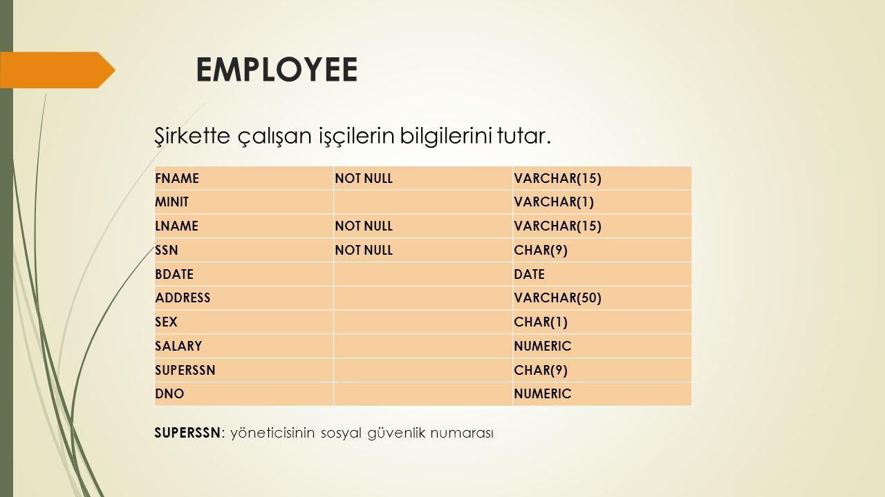 WORKS_ON ESSNNOT NULLCHAR(9) PNONOT NULLNUMERIC HOURS NUMERIC Hangi çalışanın, hangi projede kaç saat çalıştığını tutar.