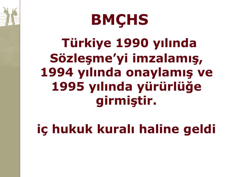 Türkiye 1990 yılında Sözleşme'yi imzalamış, 1994 yılında onaylamış ve 1995 yılında yürürlüğe girmiştir. iç hukuk kuralı haline geldi BMÇHS
