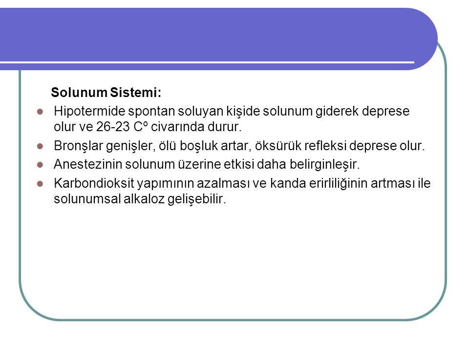 Solunum Sistemi: Hipotermide spontan soluyan kişide solunum giderek deprese olur ve 26-23 Cº civarında durur.