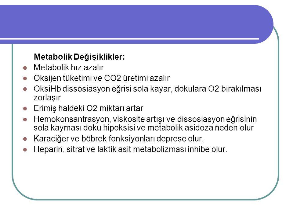 Metabolik Değişiklikler: Metabolik hız azalır Oksijen tüketimi ve CO2 üretimi azalır OksiHb dissosiasyon eğrisi sola kayar, dokulara O2 bırakılması zorlaşır Erimiş haldeki O2 miktarı artar Hemokonsantrasyon, viskosite artışı ve dissosiasyon eğrisinin sola kayması doku hipoksisi ve metabolik asidoza neden olur Karaciğer ve böbrek fonksiyonları deprese olur.