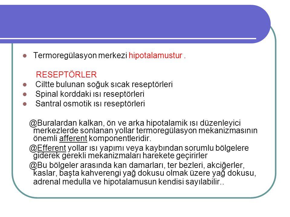 Termoregülasyon merkezi hipotalamustur.