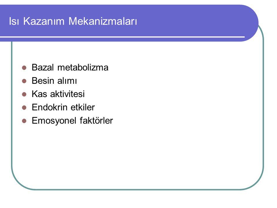 Isı Kazanım Mekanizmaları Bazal metabolizma Besin alımı Kas aktivitesi Endokrin etkiler Emosyonel faktörler