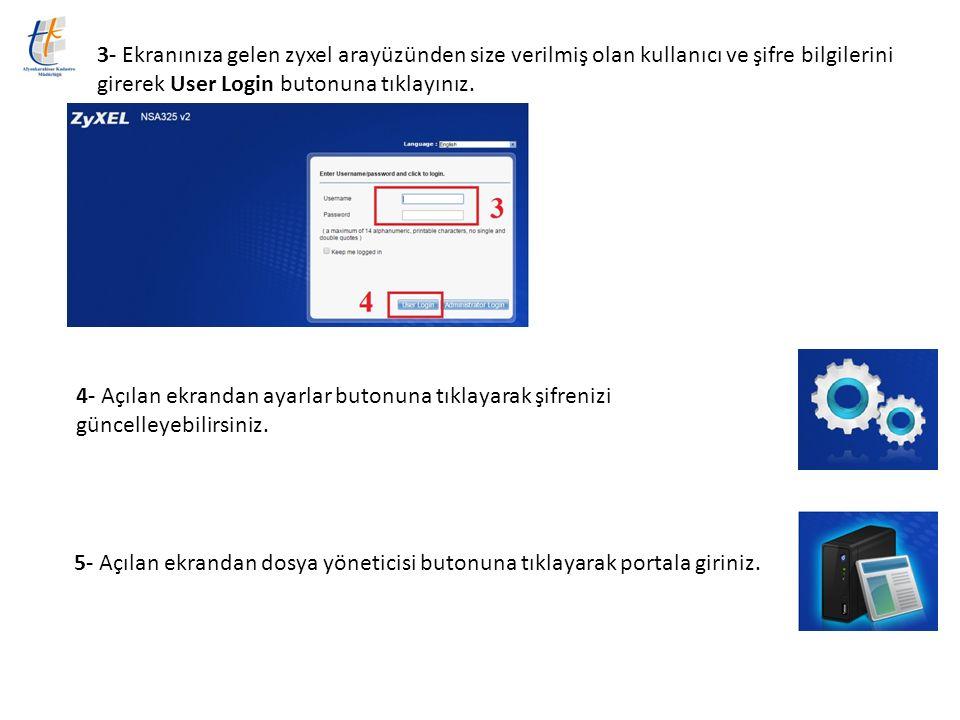 3- Ekranınıza gelen zyxel arayüzünden size verilmiş olan kullanıcı ve şifre bilgilerini girerek User Login butonuna tıklayınız. 4- Açılan ekrandan aya