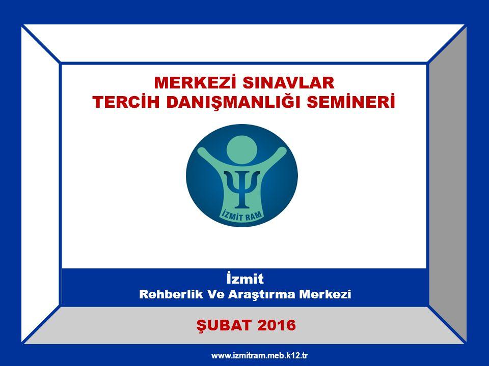 MERKEZİ SINAVLAR TERCİH DANIŞMANLIĞI SEMİNERİ İzmit Rehberlik Ve Araştırma Merkezi ŞUBAT 2016 www.izmitram.meb.k12.tr