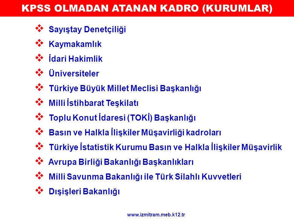 KPSS OLMADAN ATANAN KADRO (KURUMLAR)  Sayıştay Denetçiliği  Kaymakamlık  İdari Hakimlik  Üniversiteler  Türkiye Büyük Millet Meclisi Başkanlığı 