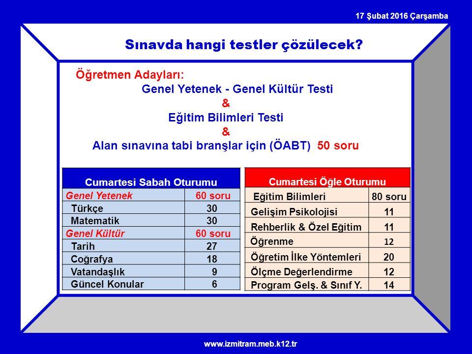 17 Şubat 2016 Çarşamba Sınavda hangi testler çözülecek? Öğretmen Adayları: Genel Yetenek - Genel Kültür Testi & Eğitim Bilimleri Testi & Alan sınavına