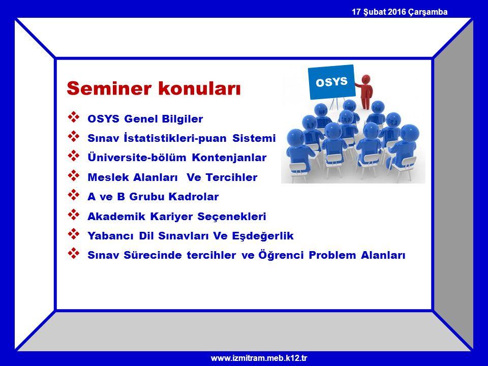 Seminer konuları  OSYS Genel Bilgiler  Sınav İstatistikleri-puan Sistemi  Üniversite-bölüm Kontenjanlar  Meslek Alanları Ve Tercihler  A ve B Gru