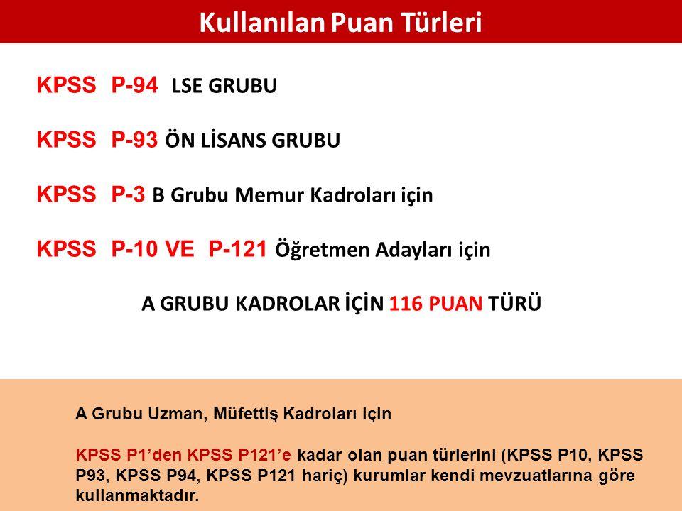 Kullanılan Puan Türleri KPSS P-94 LSE GRUBU KPSS P-93 ÖN LİSANS GRUBU KPSS P-3 B Grubu Memur Kadroları için KPSS P-10 VE P-121 Öğretmen Adayları için