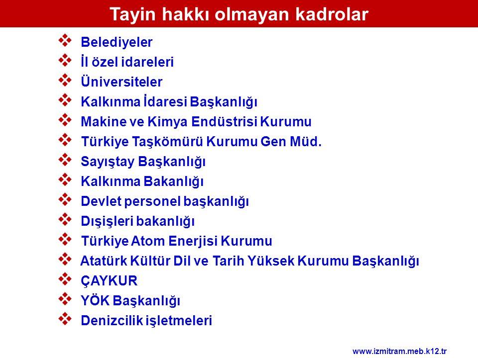  Belediyeler  İl özel idareleri  Üniversiteler  Kalkınma İdaresi Başkanlığı  Makine ve Kimya Endüstrisi Kurumu  Türkiye Taşkömürü Kurumu Gen Müd