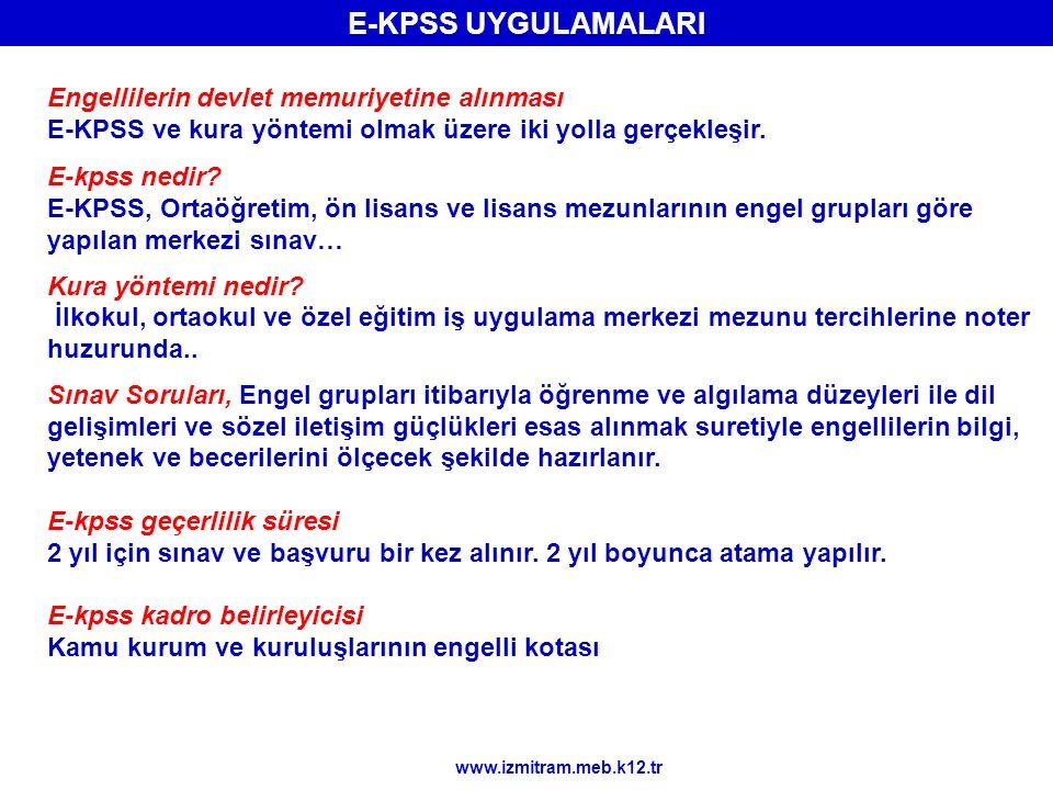 Engellilerin devlet memuriyetine alınması E-KPSS ve kura yöntemi olmak üzere iki yolla gerçekleşir. E-kpss nedir? E-KPSS, Ortaöğretim, ön lisans ve li