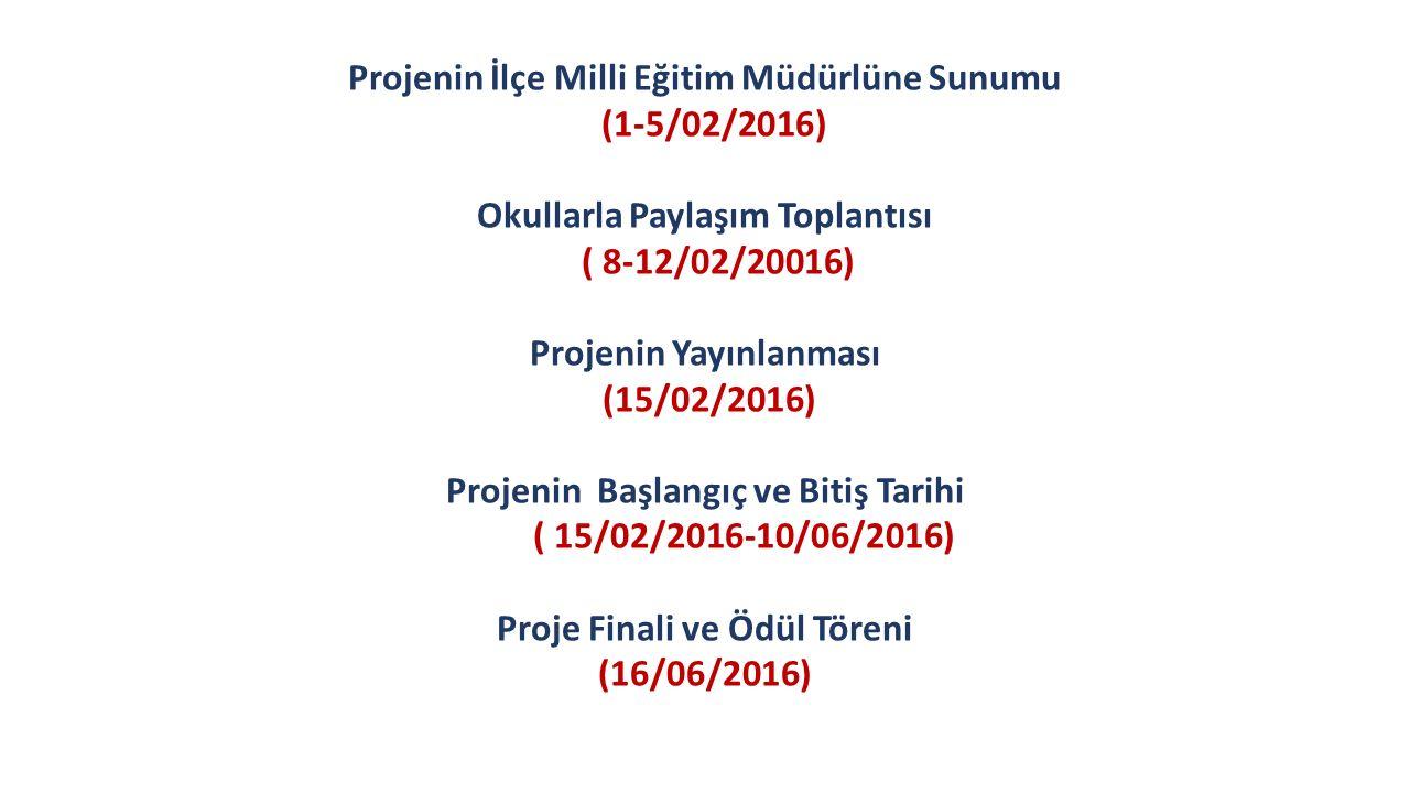 Projenin İlçe Milli Eğitim Müdürlüne Sunumu (1-5/02/2016) Okullarla Paylaşım Toplantısı ( 8-12/02/20016) Projenin Yayınlanması (15/02/2016) Projenin B