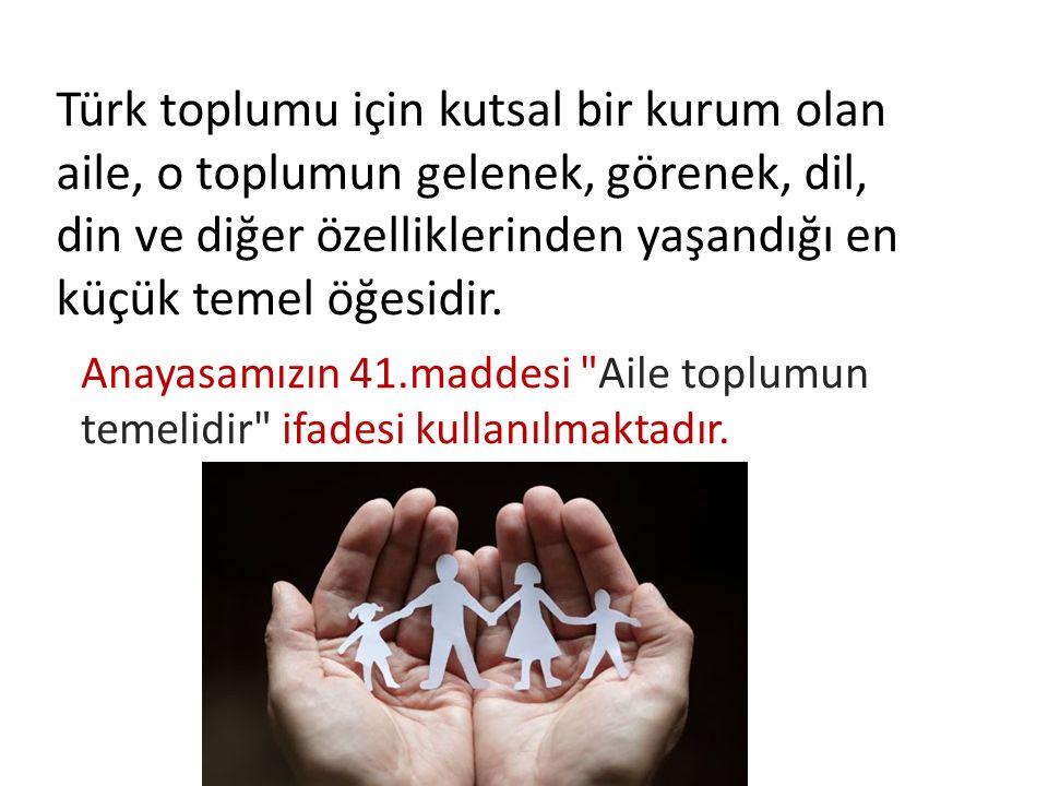 Türk toplumu için kutsal bir kurum olan aile, o toplumun gelenek, görenek, dil, din ve diğer özelliklerinden yaşandığı en küçük temel öğesidir. Anayas