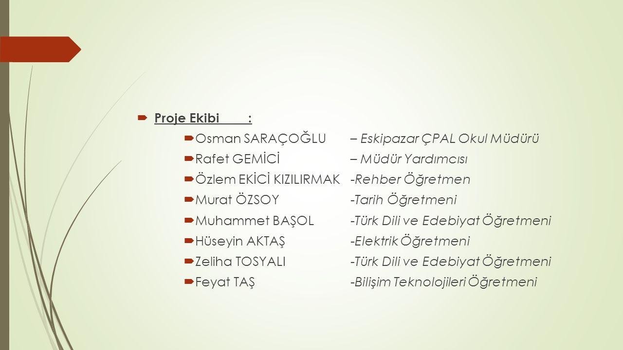  Proje Ekibi :  Osman SARAÇOĞLU – Eskipazar ÇPAL Okul Müdürü  Rafet GEMİCİ – Müdür Yardımcısı  Özlem EKİCİ KIZILIRMAK -Rehber Öğretmen  Murat ÖZS