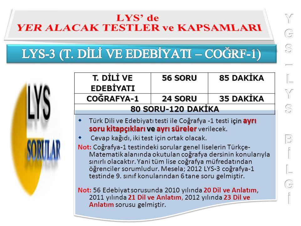 T. DİLİ VE EDEBİYATI 56 SORU 85 DAKİKA COĞRAFYA-1 24 SORU 35 DAKİKA 80 SORU-120 DAKİKA