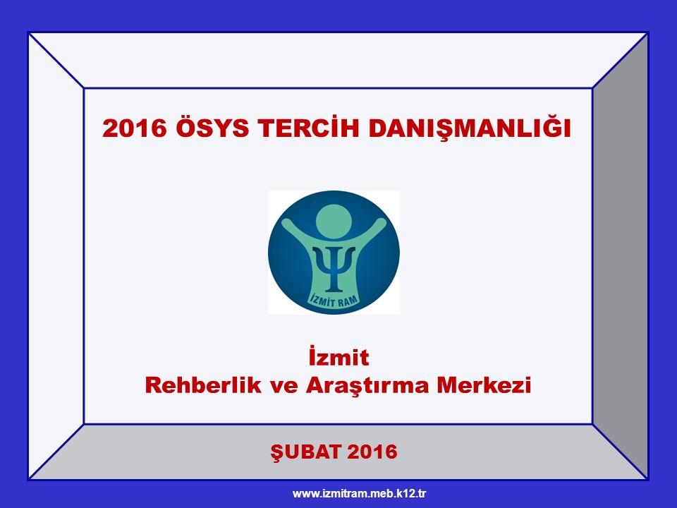 ŞUBAT 2016 2016 ÖSYS TERCİH DANIŞMANLIĞI İzmit Rehberlik ve Araştırma Merkezi www.izmitram.meb.k12.tr