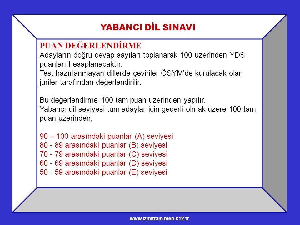 PUAN DEĞERLENDİRME Adayların doğru cevap sayıları toplanarak 100 üzerinden YDS puanları hesaplanacaktır.