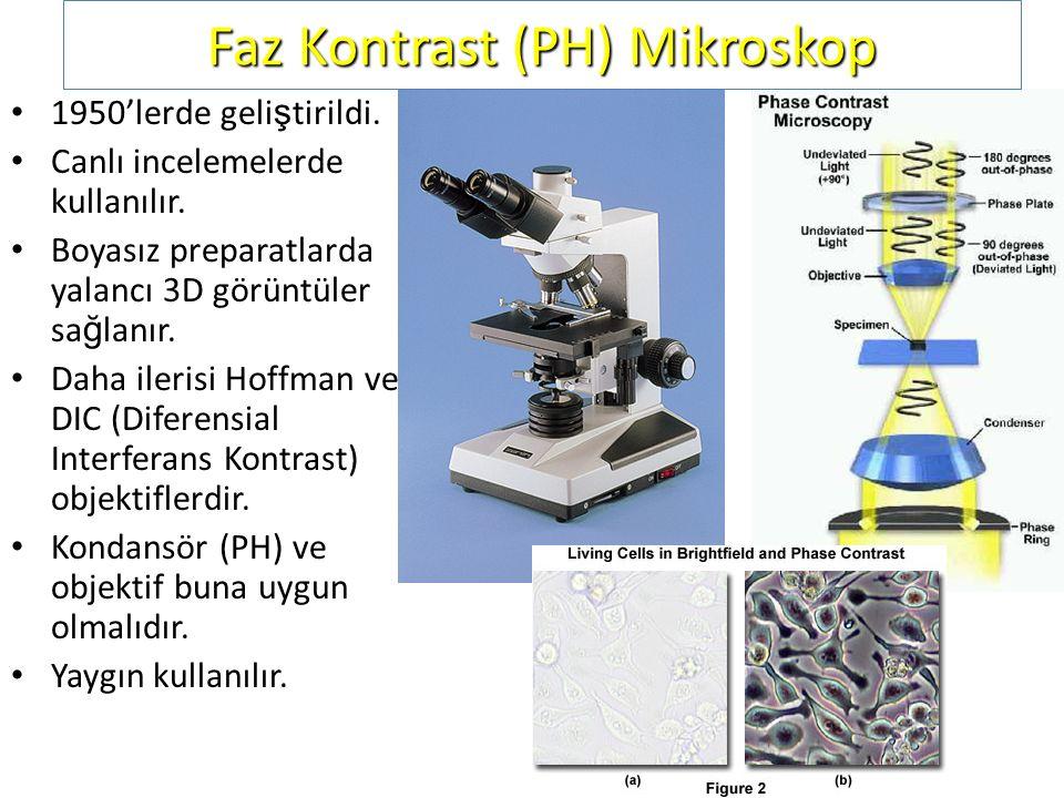 Faz Kontrast (PH) Mikroskop 1950'lerde geli ş tirildi. Canlı incelemelerde kullanılır. Boyasız preparatlarda yalancı 3D görüntüler sa ğ lanır. Daha il