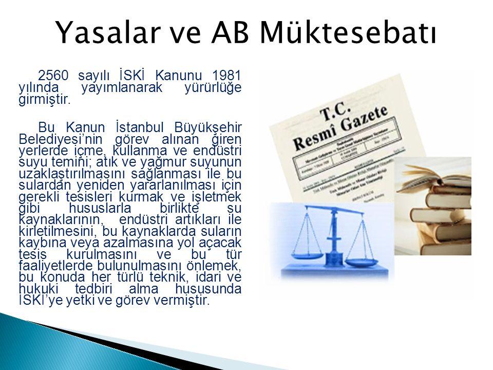 2560 sayılı İSKİ Kanunu 1981 yılında yayımlanarak yürürlüğe girmiştir. Bu Kanun İstanbul Büyükşehir Belediyesi'nin görev alınan giren yerlerde içme, k
