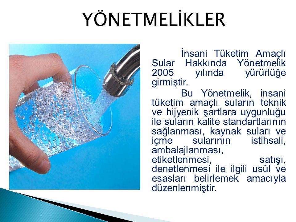 İnsani Tüketim Amaçlı Sular Hakkında Yönetmelik 2005 yılında yürürlüğe girmiştir. Bu Yönetmelik, insani tüketim amaçlı suların teknik ve hijyenik şart