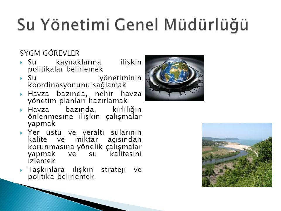 SYGM GÖREVLER  Su kaynaklarına ilişkin politikalar belirlemek  Su yönetiminin koordinasyonunu sağlamak  Havza bazında, nehir havza yönetim planları