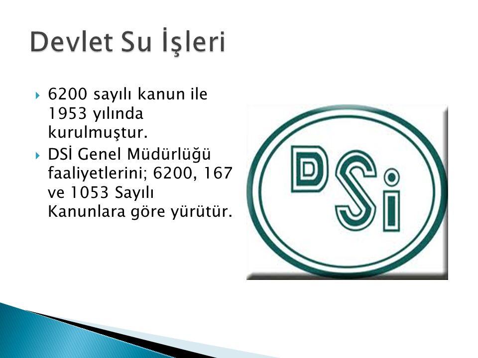  6200 sayılı kanun ile 1953 yılında kurulmuştur.  DSİ Genel Müdürlüğü faaliyetlerini; 6200, 167 ve 1053 Sayılı Kanunlara göre yürütür.