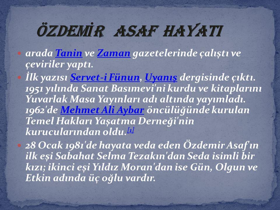arada Tanin ve Zaman gazetelerinde çalıştı ve çeviriler yaptı.TaninZaman İlk yazısı Servet-i Fünun, Uyanış dergisinde çıktı. 1951 yılında Sanat Basıme