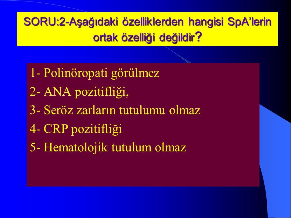 SORU:2-Aşağıdaki özelliklerden hangisi SpA'lerin ortak özelliği değildir .
