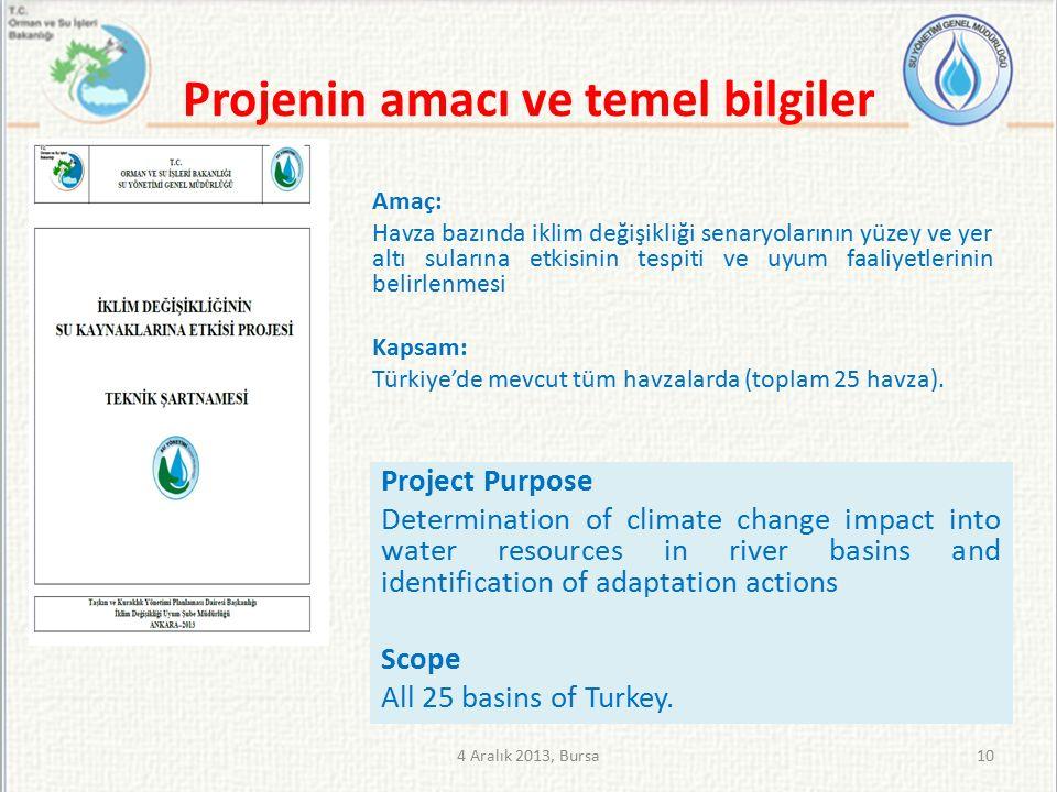 Projenin amacı ve temel bilgiler Amaç: Havza bazında iklim değişikliği senaryolarının yüzey ve yer altı sularına etkisinin tespiti ve uyum faaliyetlerinin belirlenmesi Kapsam: Türkiye'de mevcut tüm havzalarda (toplam 25 havza).