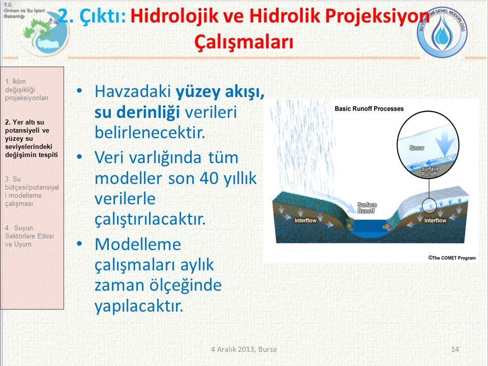 2. Çıktı: Hidrolojik ve Hidrolik Projeksiyon Çalışmaları Havzadaki yüzey akışı, su derinliği verileri belirlenecektir. Veri varlığında tüm modeller so