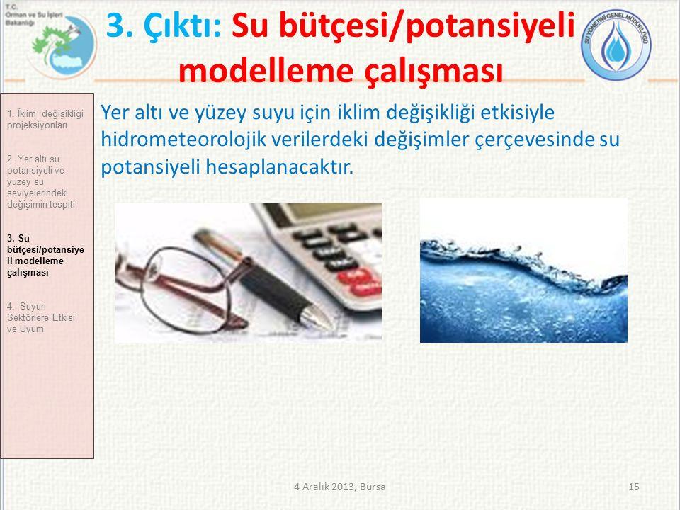 3. Çıktı: Su bütçesi/potansiyeli modelleme çalışması 4 Aralık 2013, Bursa15 1.