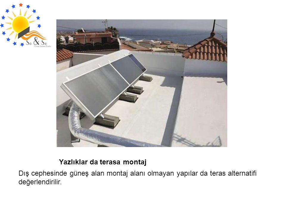 Yazlıklar da terasa montaj Dış cephesinde güneş alan montaj alanı olmayan yapılar da teras alternatifi değerlendirilir.