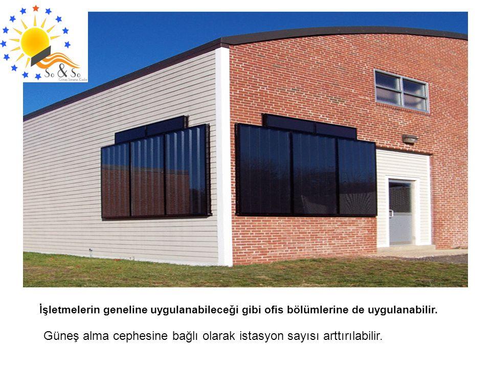 İşletmelerin geneline uygulanabileceği gibi ofis bölümlerine de uygulanabilir. Güneş alma cephesine bağlı olarak istasyon sayısı arttırılabilir.