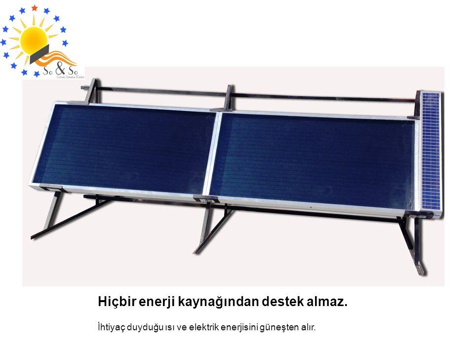 Hiçbir enerji kaynağından destek almaz. İhtiyaç duyduğu ısı ve elektrik enerjisini güneşten alır.