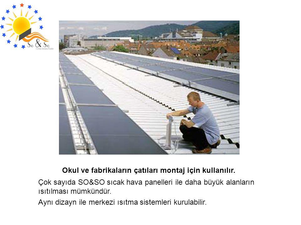 Okul ve fabrikaların çatıları montaj için kullanılır. Çok sayıda SO&SO sıcak hava panelleri ile daha büyük alanların ısıtılması mümkündür. Aynı dizayn