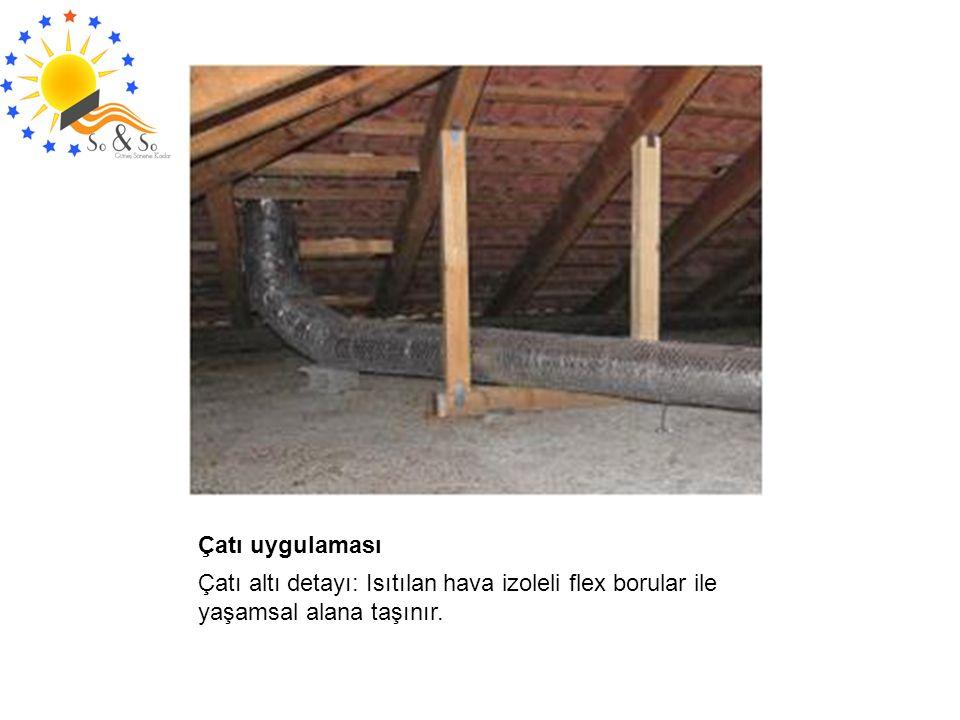 Çatı altı detayı: Isıtılan hava izoleli flex borular ile yaşamsal alana taşınır.